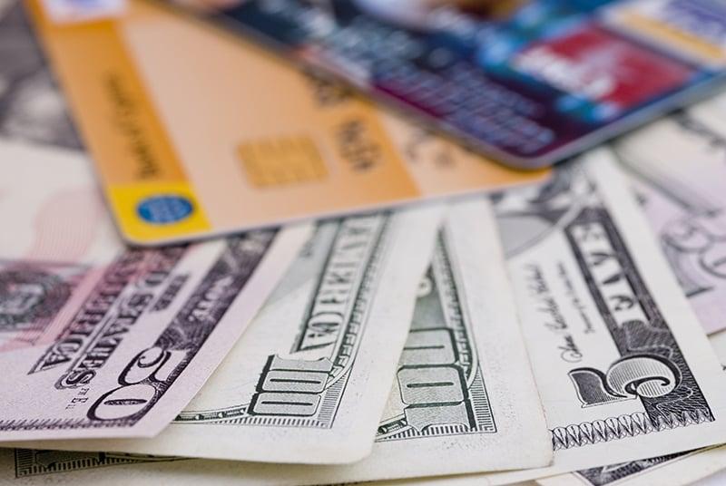 Doláres e cartões em Las Vegas