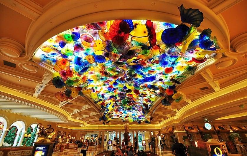 Teto do saguão do Bellagio em Las Vegas