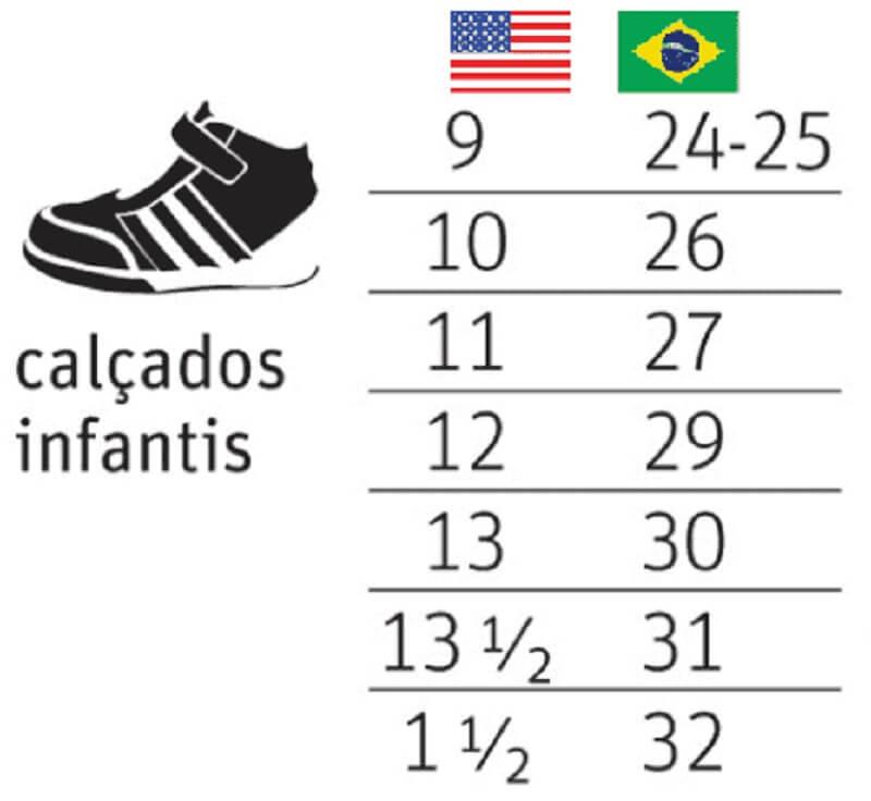 Tabela de conversão dos calçados infantis nos EUA