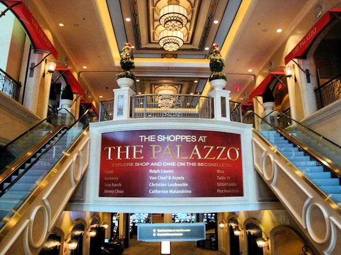 Lojas do The Shoppes no Hotel Palazzo em Las Vegas